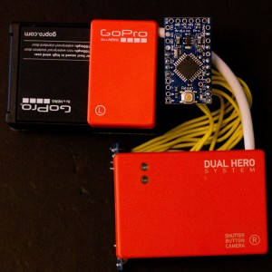 top right: GoPro hardware emulator w/ Arduino Pro Mini, orange color: GoPro Dual Hero System