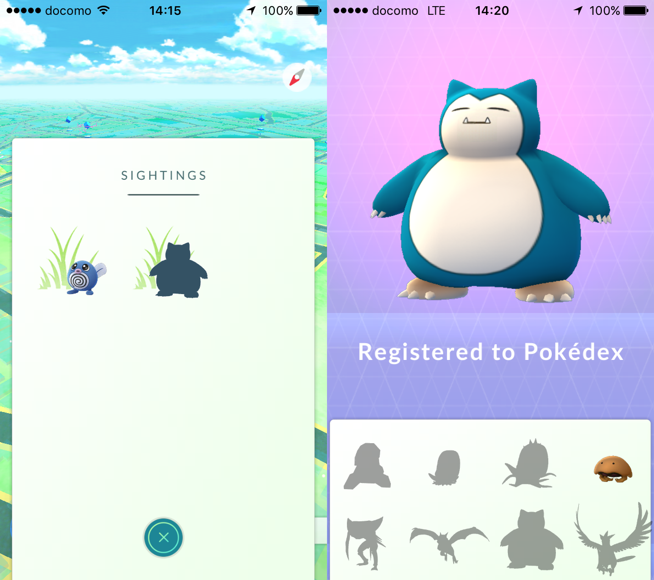 Gotcha Snorlax using our method (14 August 2016)